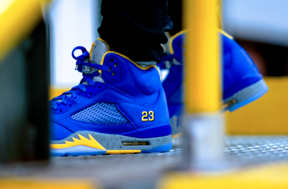 626e4f7b74e4e0 This bright blue sneaker is a favorite color for many people. The Air Jordan  5 Laney JSP Varsity Royal is a new ...