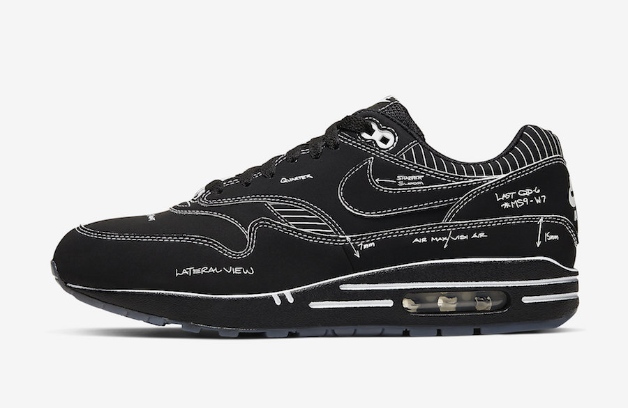 new authentic exclusive shoes top design Nike Air Max 1 'Black Schematic' Official Images | KaSneaker